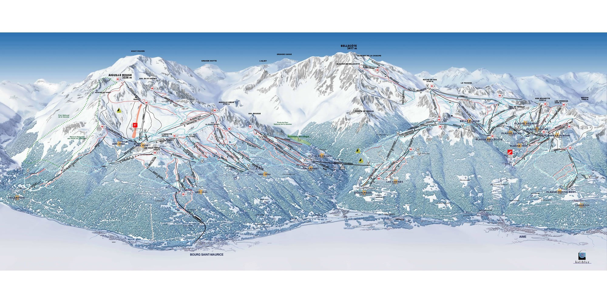 Piste map for La Plagne