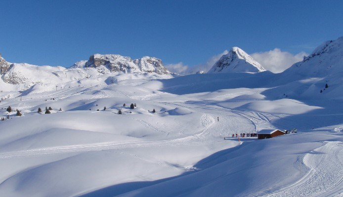 pistes covered in snow on a sunny day in la plagne