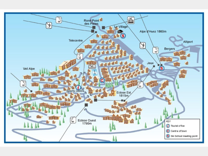 Resort map for Alpe d'Huez