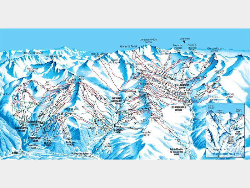 Piste map for Meribel